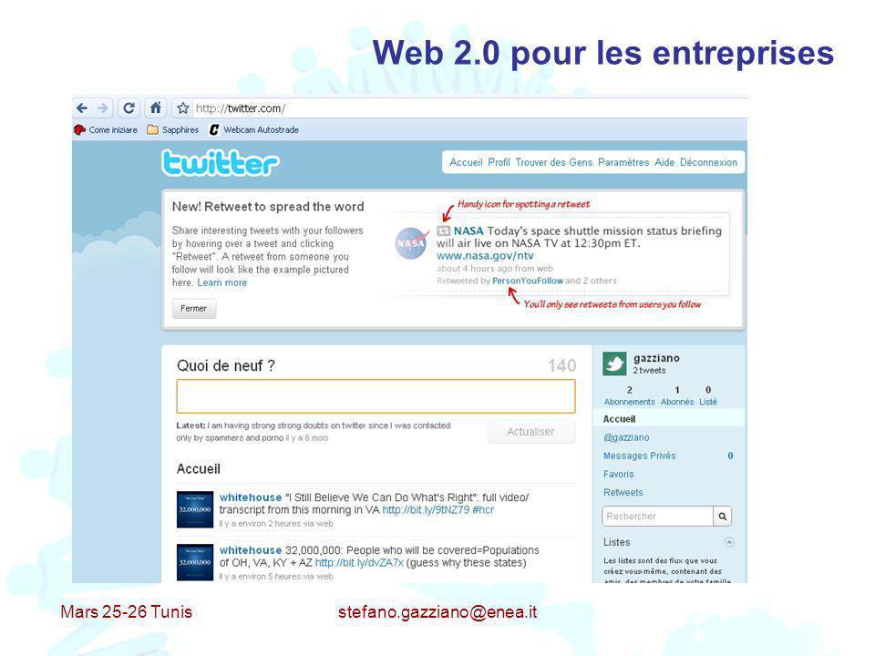 Mars 25-26 Tunis stefano.gazziano@enea.it Web 2.0 pour les entreprises