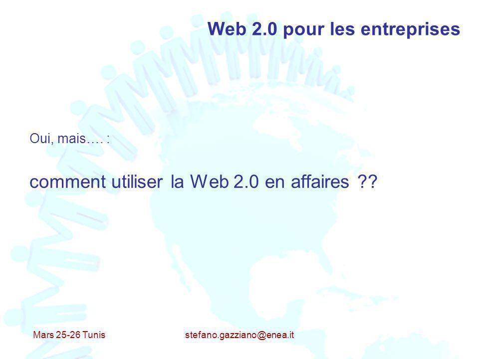 Mars 25-26 Tunis stefano.gazziano@enea.it Web 2.0 pour les entreprises Oui, mais…. : comment utiliser la Web 2.0 en affaires ??