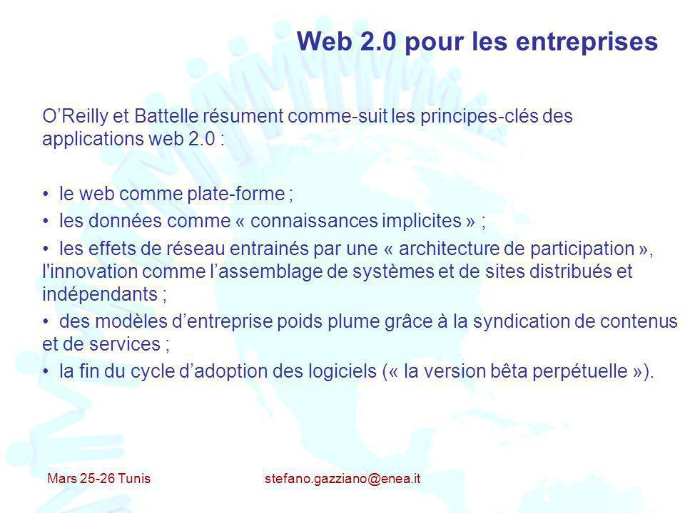 Mars 25-26 Tunis stefano.gazziano@enea.it Web 2.0 pour les entreprises OReilly et Battelle résument comme-suit les principes-clés des applications web