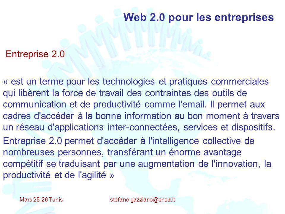 Mars 25-26 Tunis stefano.gazziano@enea.it Web 2.0 pour les entreprises Entreprise 2.0 « est un terme pour les technologies et pratiques commerciales q
