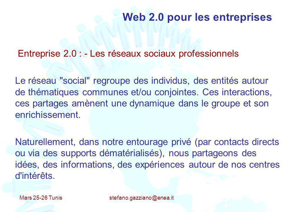 Mars 25-26 Tunis stefano.gazziano@enea.it Web 2.0 pour les entreprises Entreprise 2.0 : - Les réseaux sociaux professionnels Le réseau