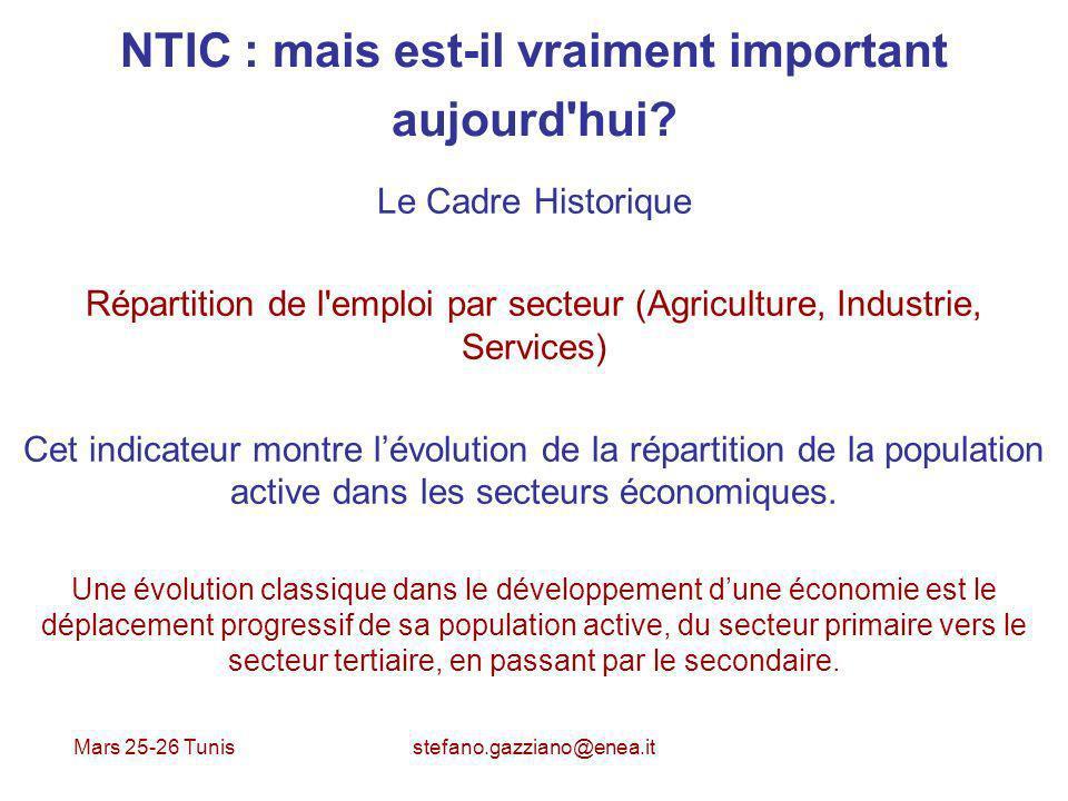 Mars 25-26 Tunis stefano.gazziano@enea.it NTIC : mais est-il vraiment important aujourd'hui? Le Cadre Historique Répartition de l'emploi par secteur (