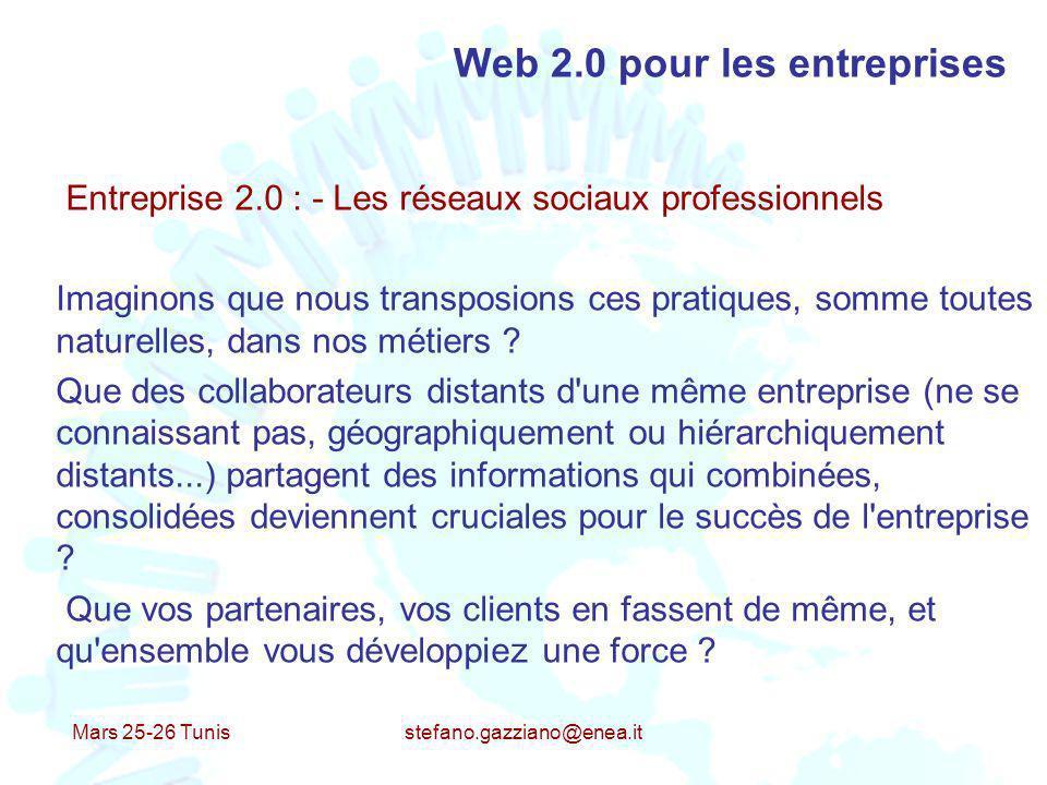 Mars 25-26 Tunis stefano.gazziano@enea.it Web 2.0 pour les entreprises Entreprise 2.0 : - Les réseaux sociaux professionnels Imaginons que nous transp