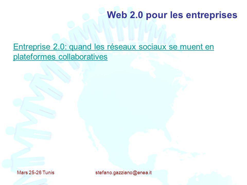 Mars 25-26 Tunis stefano.gazziano@enea.it Web 2.0 pour les entreprises Entreprise 2.0: quand les réseaux sociaux se muent en plateformes collaborative