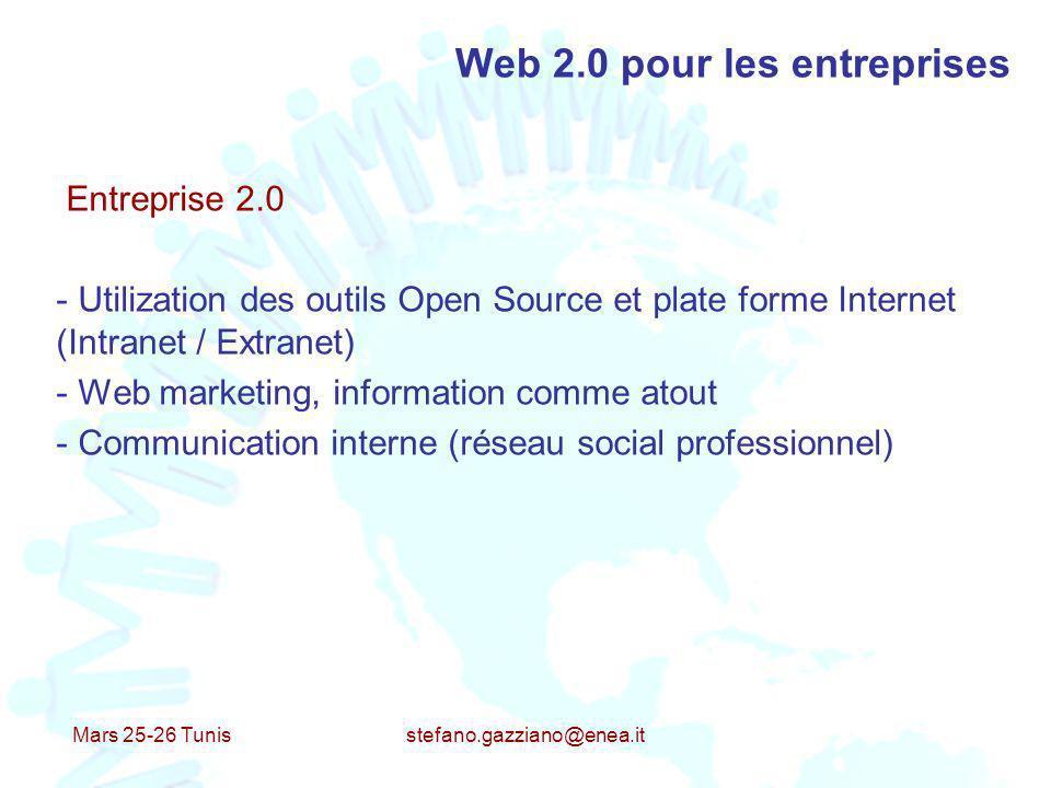 Mars 25-26 Tunis stefano.gazziano@enea.it Web 2.0 pour les entreprises Entreprise 2.0 - Utilization des outils Open Source et plate forme Internet (In