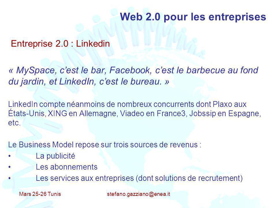 Mars 25-26 Tunis stefano.gazziano@enea.it Web 2.0 pour les entreprises Entreprise 2.0 : Linkedin « MySpace, cest le bar, Facebook, cest le barbecue au