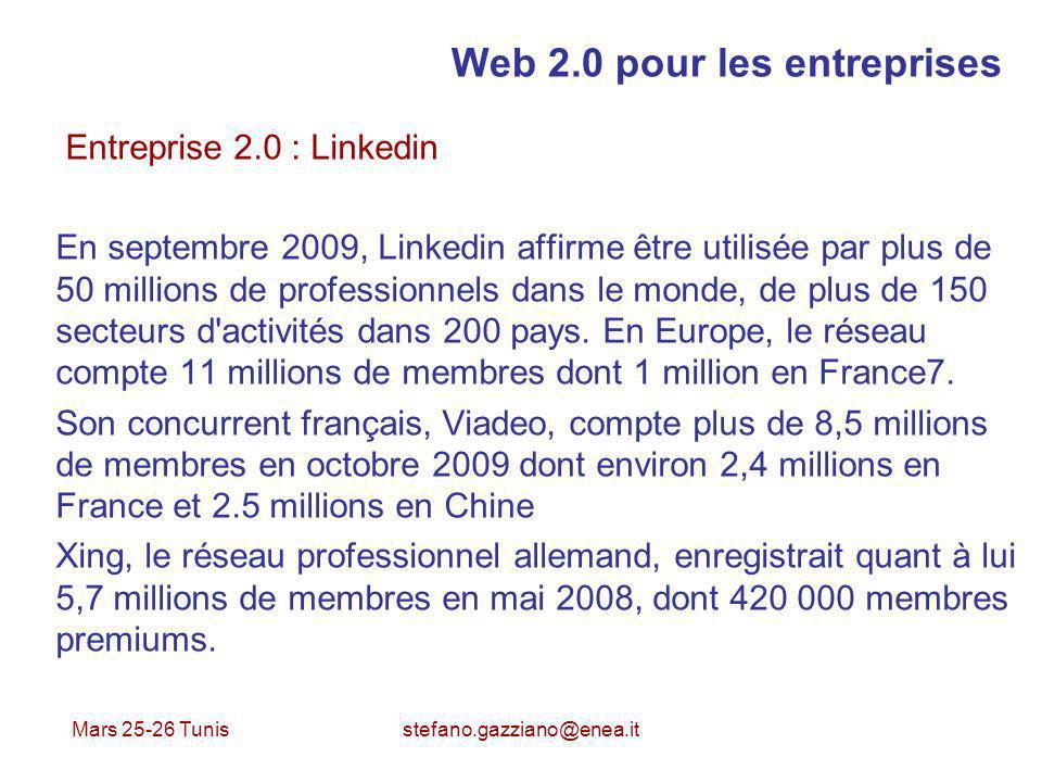 Mars 25-26 Tunis stefano.gazziano@enea.it Web 2.0 pour les entreprises Entreprise 2.0 : Linkedin En septembre 2009, Linkedin affirme être utilisée par