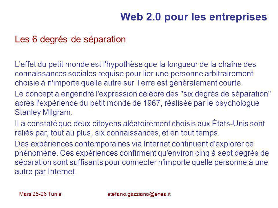 Mars 25-26 Tunis stefano.gazziano@enea.it Web 2.0 pour les entreprises Les 6 degrés de séparation L'effet du petit monde est l'hypothèse que la longue