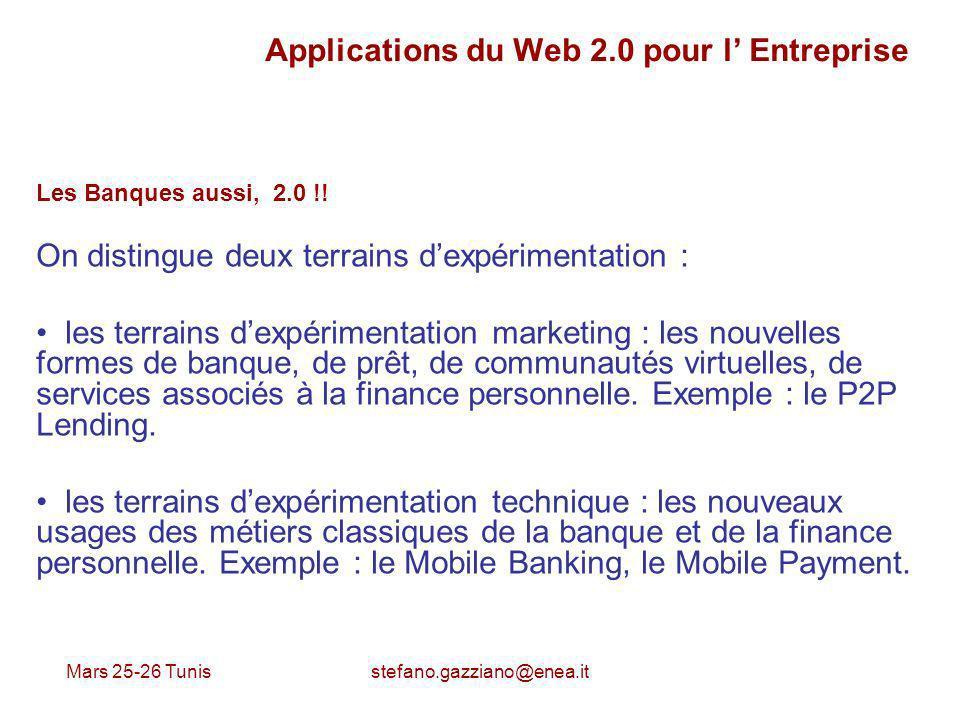 Mars 25-26 Tunis stefano.gazziano@enea.it Applications du Web 2.0 pour l Entreprise Les Banques aussi, 2.0 !! On distingue deux terrains dexpérimentat