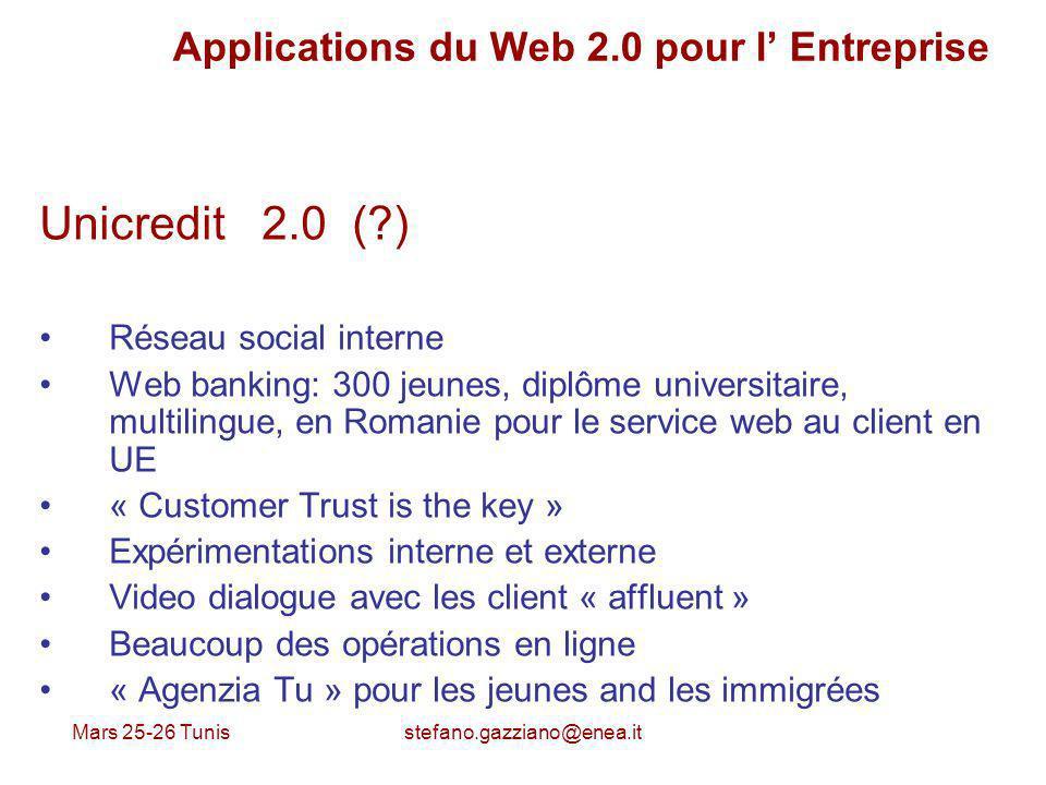 Mars 25-26 Tunis stefano.gazziano@enea.it Applications du Web 2.0 pour l Entreprise Unicredit 2.0 (?) Réseau social interne Web banking: 300 jeunes, d