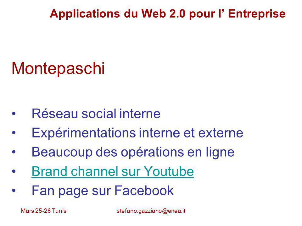 Mars 25-26 Tunis stefano.gazziano@enea.it Applications du Web 2.0 pour l Entreprise Montepaschi Réseau social interne Expérimentations interne et exte