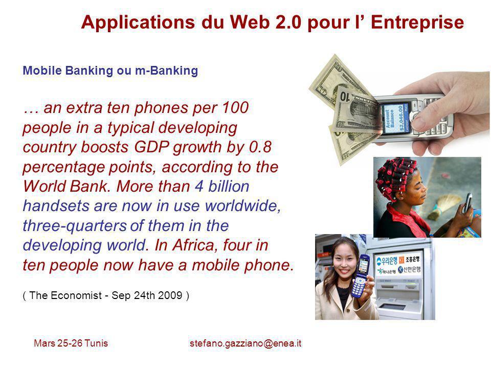 Mars 25-26 Tunis stefano.gazziano@enea.it Applications du Web 2.0 pour l Entreprise Mobile Banking ou m-Banking … an extra ten phones per 100 people i