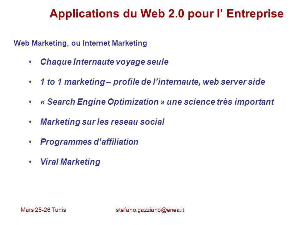 Mars 25-26 Tunis stefano.gazziano@enea.it Applications du Web 2.0 pour l Entreprise Web Marketing, ou Internet Marketing Chaque Internaute voyage seul