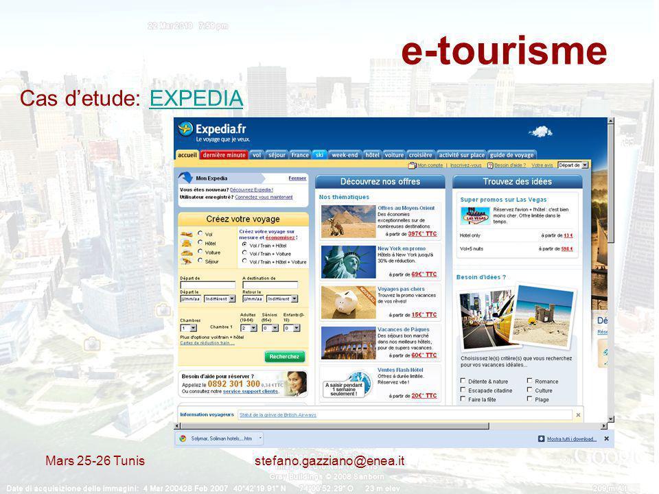 Mars 25-26 Tunis stefano.gazziano@enea.it e-tourisme Cas detude: EXPEDIAEXPEDIA