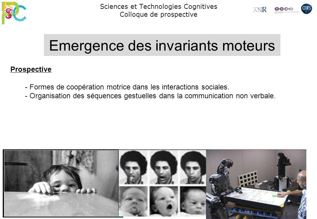 Sciences et Technologies Cognitives Colloque de prospective Prospective - Formes de coopération motrice dans les interactions sociales. - Organisation