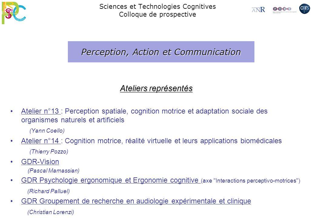 Ateliers représentés Atelier n°13 : Perception spatiale, cognition motrice et adaptation sociale des organismes naturels et artificiels (Yann Coello)