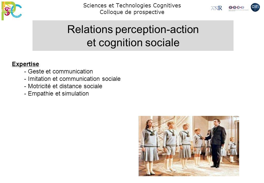 Sciences et Technologies Cognitives Colloque de prospective Expertise - Geste et communication - Imitation et communication sociale - Motricité et dis