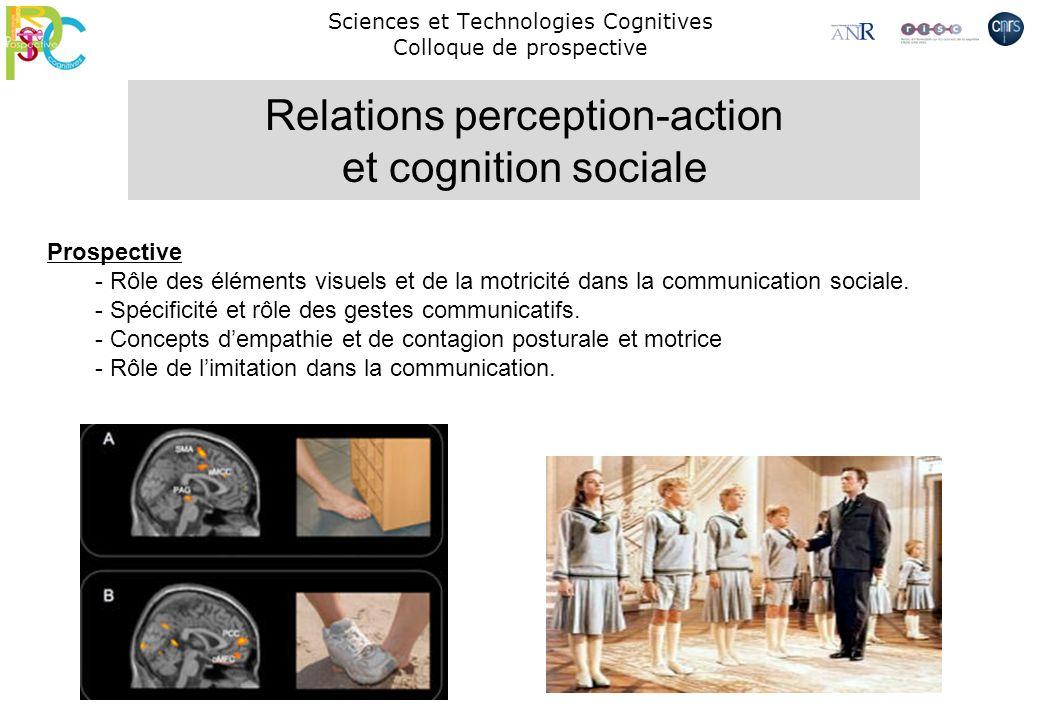 Sciences et Technologies Cognitives Colloque de prospective Prospective - Rôle des éléments visuels et de la motricité dans la communication sociale.