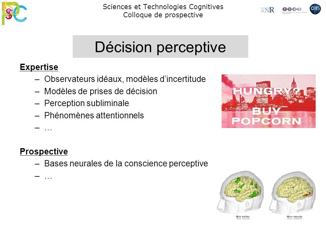 Expertise –Observateurs idéaux, modèles dincertitude –Modèles de prises de décision –Perception subliminale –Phénomènes attentionnels –… Prospective –