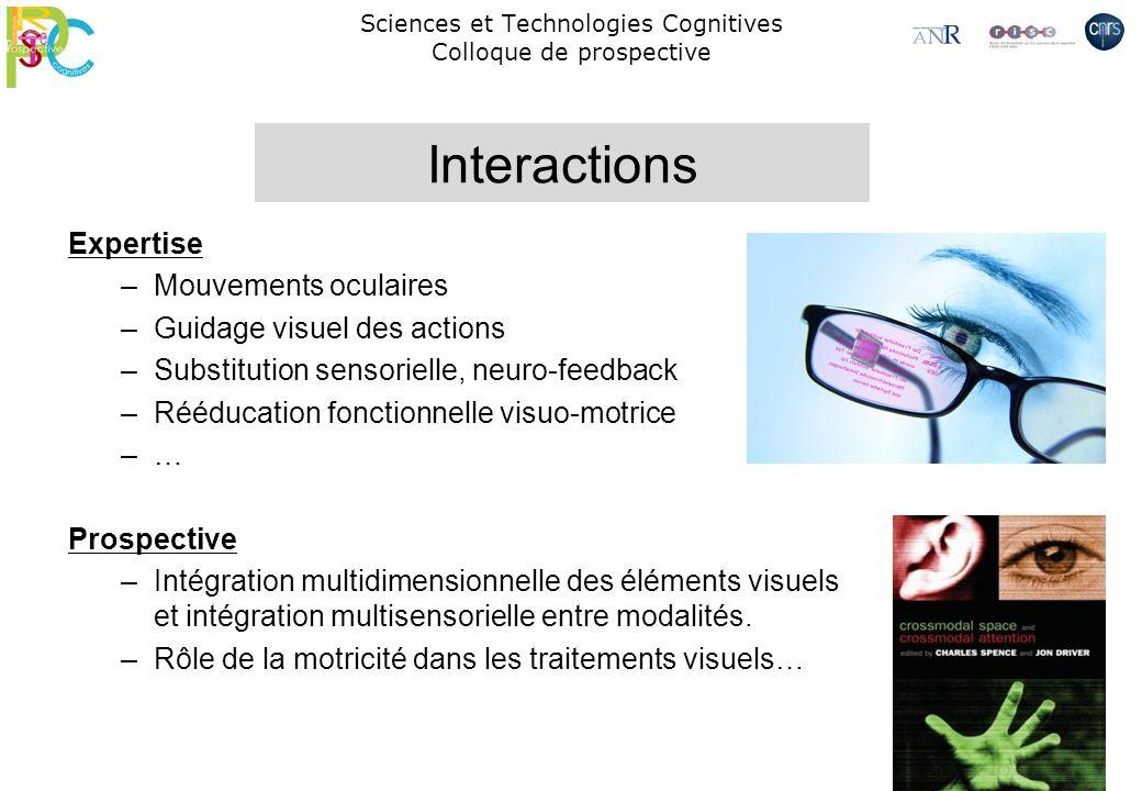 Sciences et Technologies Cognitives Colloque de prospective Expertise –Mouvements oculaires –Guidage visuel des actions –Substitution sensorielle, neu