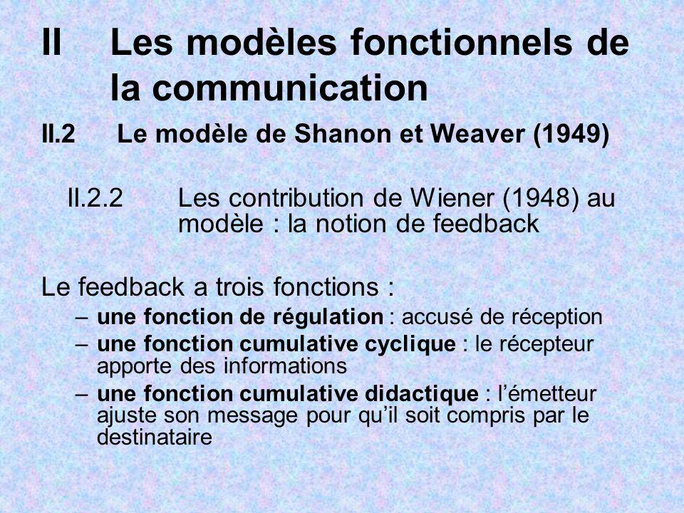 IILes modèles fonctionnels de la communication II.2 Le modèle de Shanon et Weaver (1949) II.2.2 Les contribution de Wiener (1948) au modèle : la notio