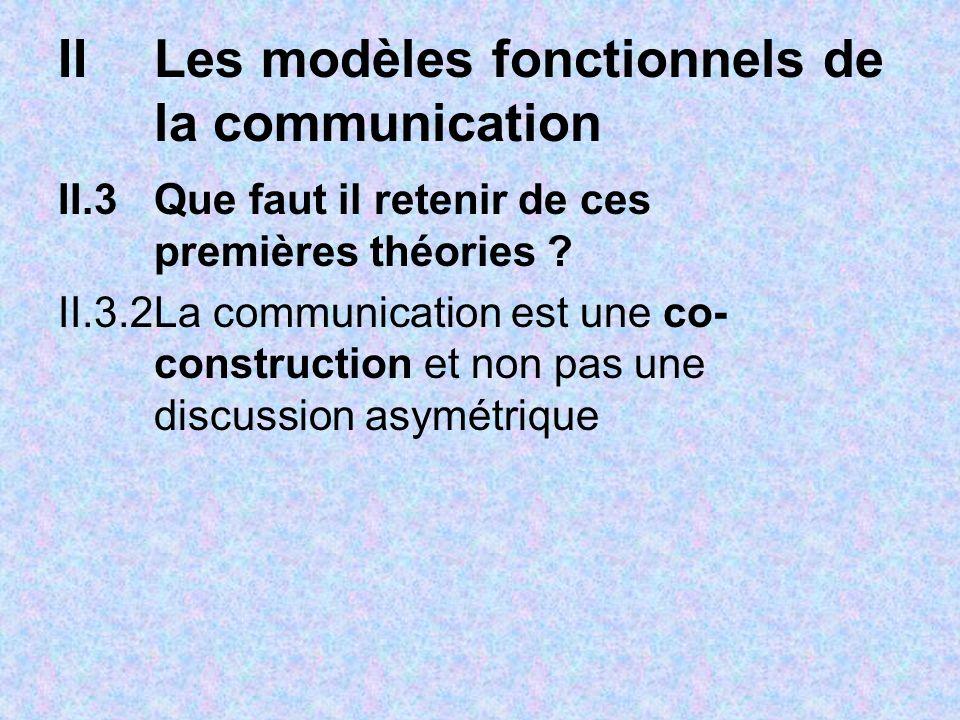 IILes modèles fonctionnels de la communication II.3Que faut il retenir de ces premières théories ? II.3.2La communication est une co- construction et