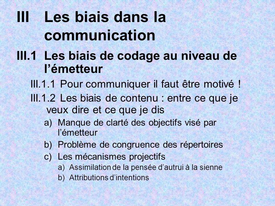 IIILes biais dans la communication III.1Les biais de codage au niveau de lémetteur III.1.1 Pour communiquer il faut être motivé ! III.1.2 Les biais de