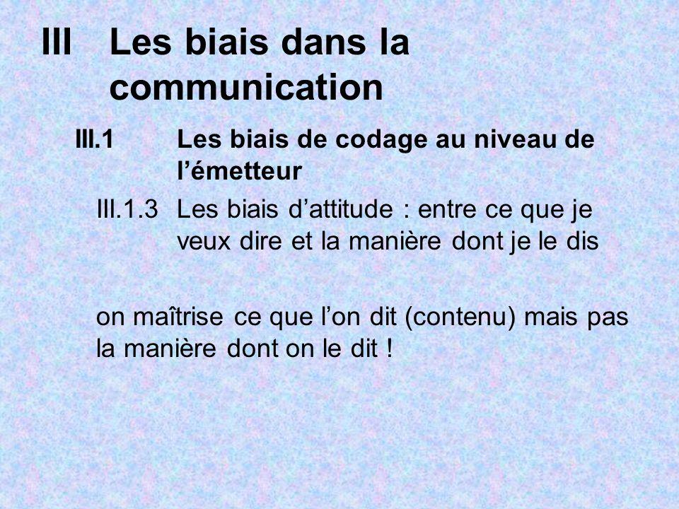 IIILes biais dans la communication III.1Les biais de codage au niveau de lémetteur III.1.3 Les biais dattitude : entre ce que je veux dire et la manière dont je le dis on maîtrise ce que lon dit (contenu) mais pas la manière dont on le dit !