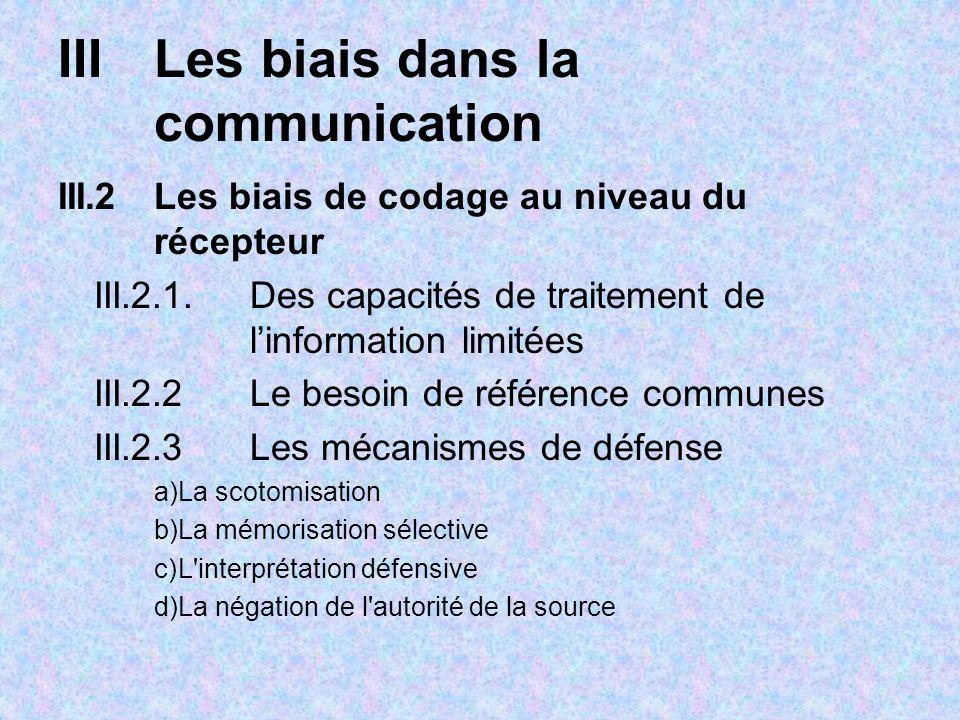 IIILes biais dans la communication III.2Les biais de codage au niveau du récepteur III.2.1. Des capacités de traitement de linformation limitées III.2
