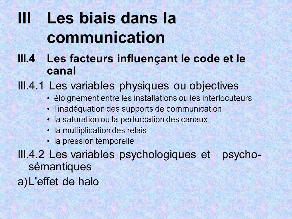 IIILes biais dans la communication III.4Les facteurs influençant le code et le canal III.4.1 Les variables physiques ou objectives éloignement entre l