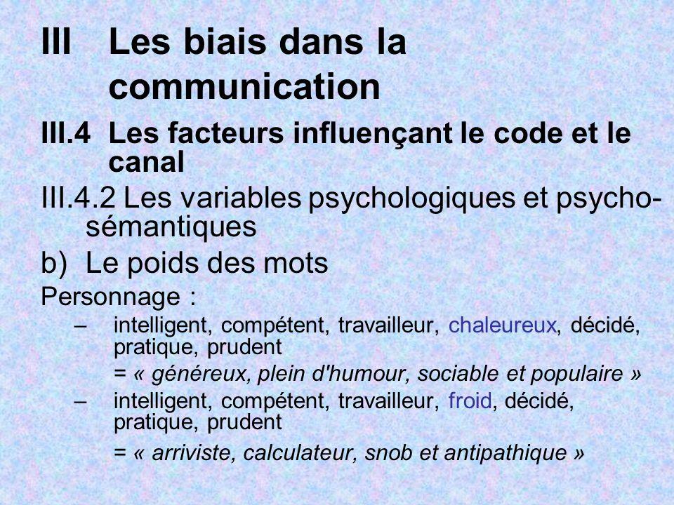IIILes biais dans la communication III.4Les facteurs influençant le code et le canal III.4.2 Les variables psychologiques et psycho- sémantiques b)Le