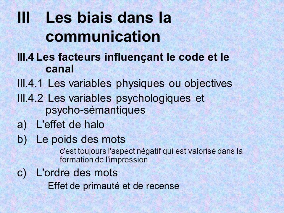IIILes biais dans la communication III.4Les facteurs influençant le code et le canal III.4.1 Les variables physiques ou objectives III.4.2 Les variabl
