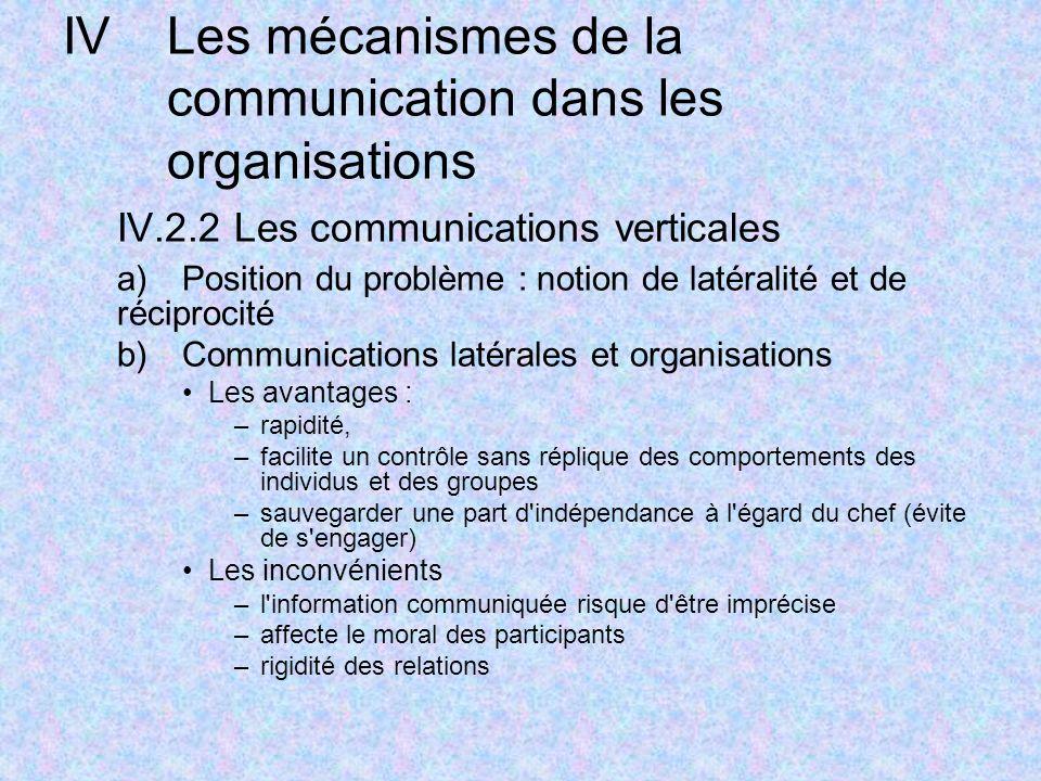 IVLes mécanismes de la communication dans les organisations IV.2.2 Les communications verticales a)Position du problème : notion de latéralité et de r