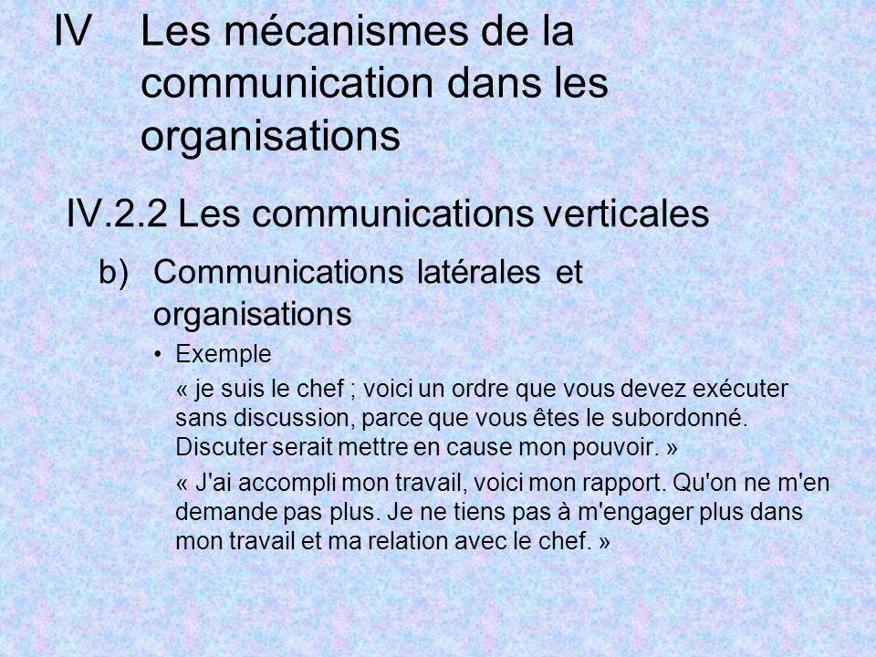IVLes mécanismes de la communication dans les organisations IV.2.2 Les communications verticales b)Communications latérales et organisations Exemple « je suis le chef ; voici un ordre que vous devez exécuter sans discussion, parce que vous êtes le subordonné.