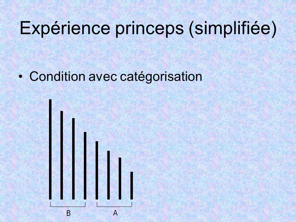 Expérience princeps (simplifiée) Condition avec catégorisation B A