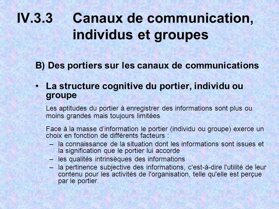 IV.3.3 Canaux de communication, individus et groupes B) Des portiers sur les canaux de communications La structure cognitive du portier, individu ou g