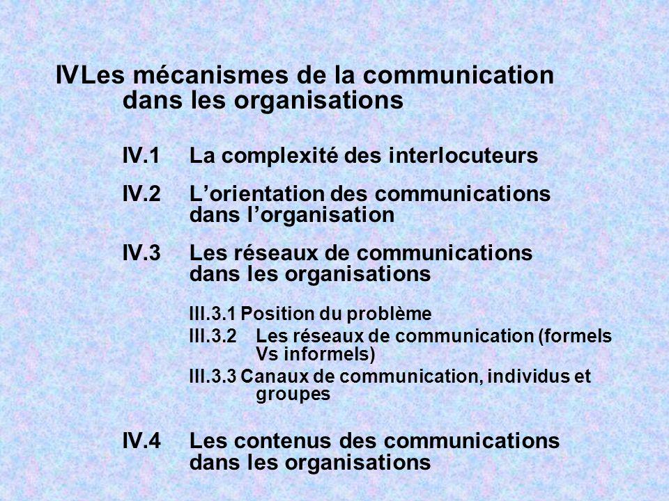 IVLes mécanismes de la communication dans les organisations IV.1La complexité des interlocuteurs IV.2Lorientation des communications dans lorganisation IV.3Les réseaux de communications dans les organisations III.3.1 Position du problème III.3.2Les réseaux de communication (formels Vs informels) III.3.3 Canaux de communication, individus et groupes IV.4Les contenus des communications dans les organisations