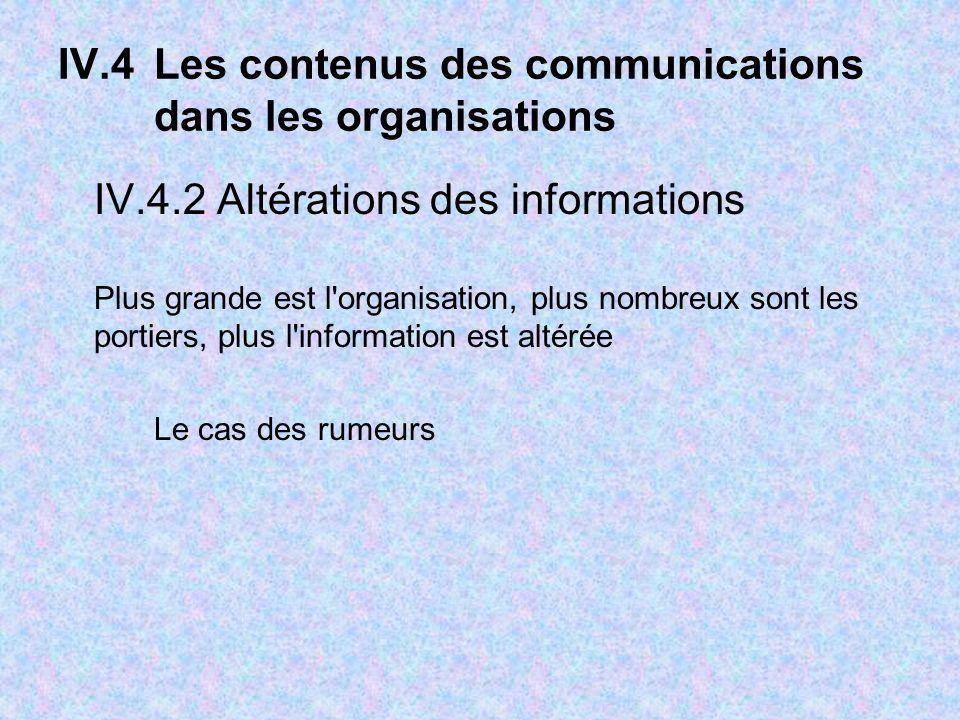 IV.4Les contenus des communications dans les organisations IV.4.2 Altérations des informations Plus grande est l organisation, plus nombreux sont les portiers, plus l information est altérée Le cas des rumeurs