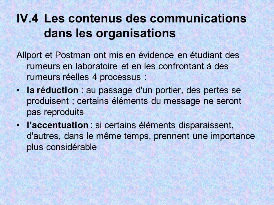 IV.4Les contenus des communications dans les organisations Allport et Postman ont mis en évidence en étudiant des rumeurs en laboratoire et en les con