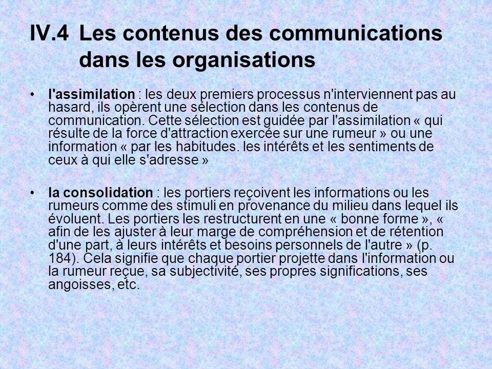 IV.4Les contenus des communications dans les organisations l assimilation : les deux premiers processus n interviennent pas au hasard, ils opèrent une sélection dans les contenus de communication.