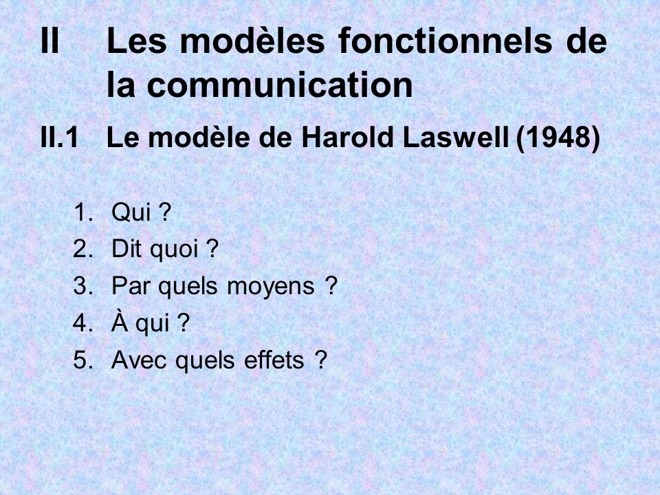 IILes modèles fonctionnels de la communication II.1Le modèle de Harold Laswell (1948) 1.Qui ? 2.Dit quoi ? 3.Par quels moyens ? 4.À qui ? 5.Avec quels