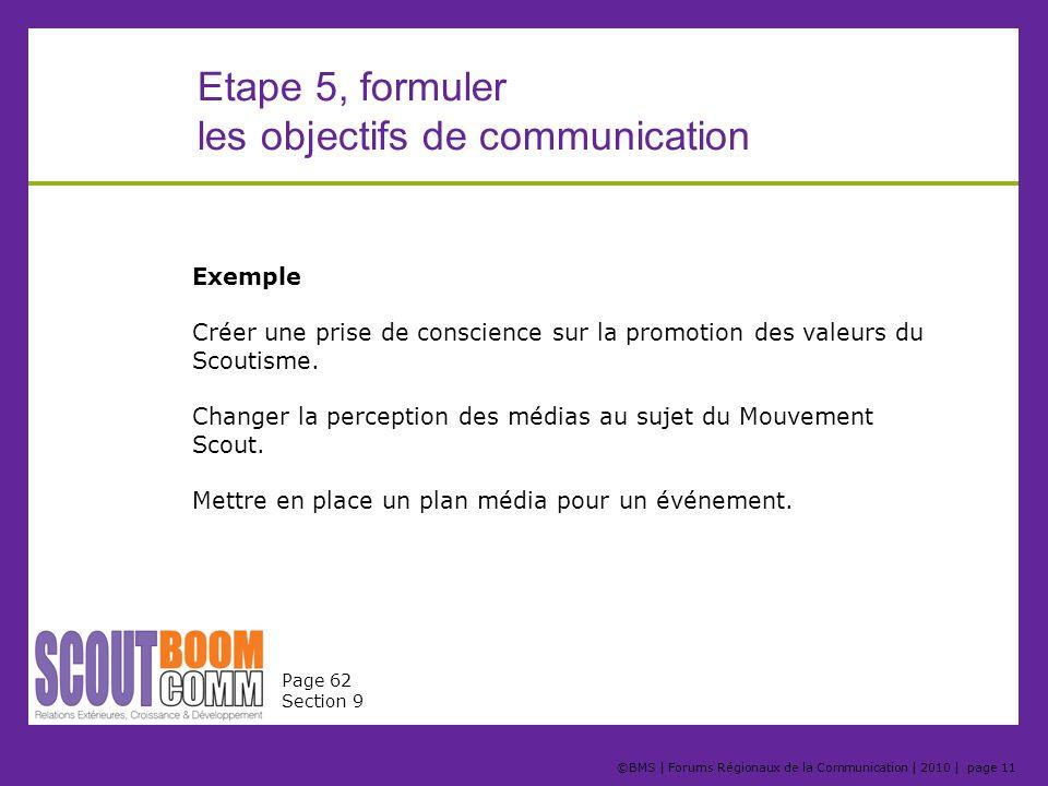 ©BMS   Forums Régionaux de la Communication   2010   page 11 Exemple Créer une prise de conscience sur la promotion des valeurs du Scoutisme. Changer