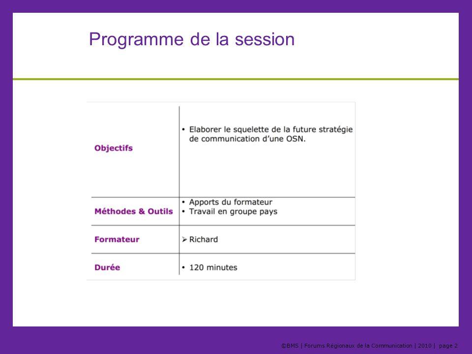 ©BMS | Forums Régionaux de la Communication | 2010 | page 13 Etape 7, les axes de communication Laxe est une direction qui relie le thème de communication à la cible.