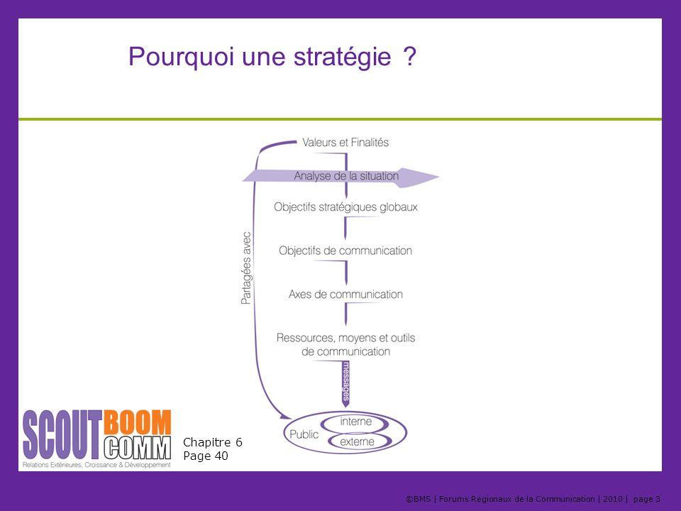 ©BMS | Forums Régionaux de la Communication | 2010 | page 3 Pourquoi une stratégie ? Chapitre 6 Page 40