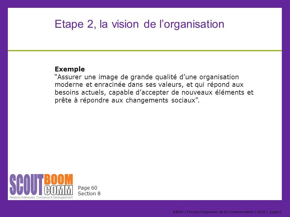 ©BMS | Forums Régionaux de la Communication | 2010 | page 6 Etape 2, la vision de lorganisation Exemple Assurer une image de grande qualité dune organ