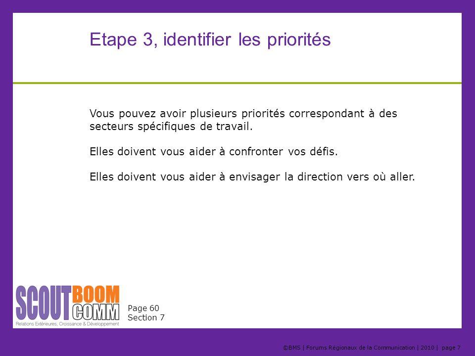 ©BMS | Forums Régionaux de la Communication | 2010 | page 7 Etape 3, identifier les priorités Vous pouvez avoir plusieurs priorités correspondant à de