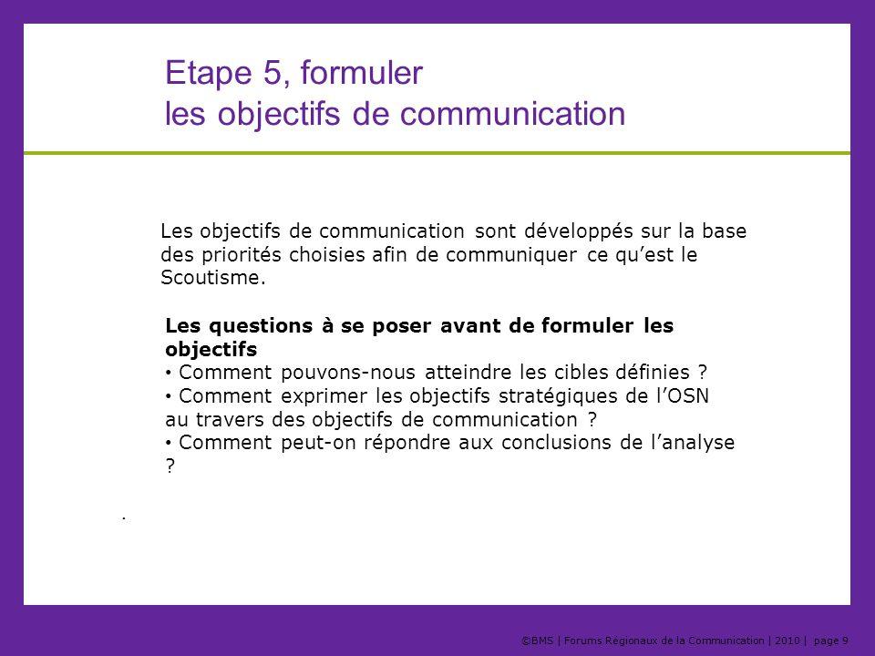 ©BMS | Forums Régionaux de la Communication | 2010 | page 10 Etape 5, formuler les objectifs de communication Priorité 1 Priorité 3 Priorité 2 Objectif 1 Objectif 2 Objectif 3 Objectif 1 Objectif 2 Objectif 3 Objectif 1 Objectif 2 Objectif 3 Cible 1 Cible 2 Cible 3