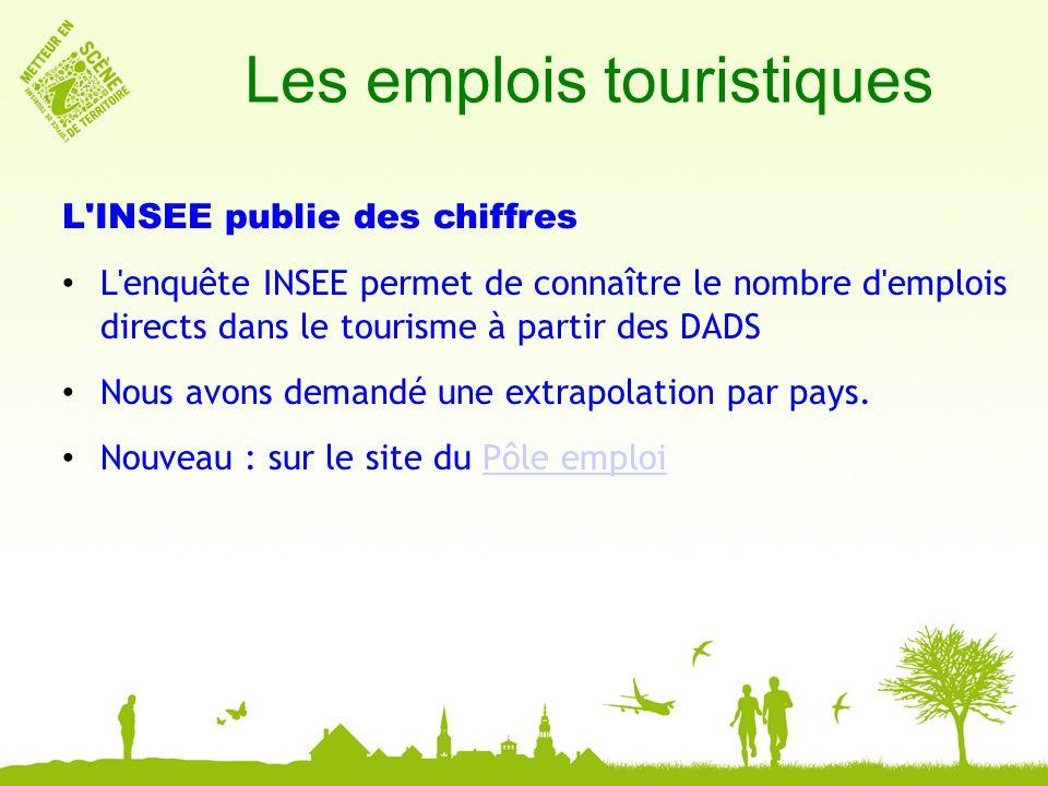 Les emplois touristiques L INSEE publie des chiffres L enquête INSEE permet de connaître le nombre d emplois directs dans le tourisme à partir des DADS Nous avons demandé une extrapolation par pays.