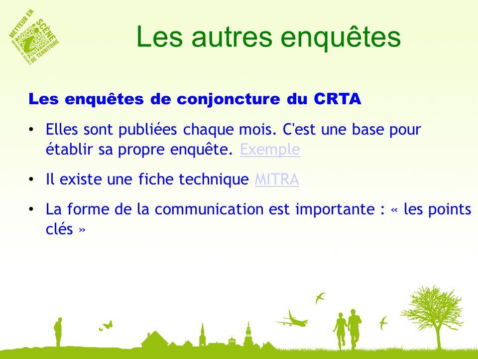 Les autres enquêtes Les enquêtes de conjoncture du CRTA Elles sont publiées chaque mois.