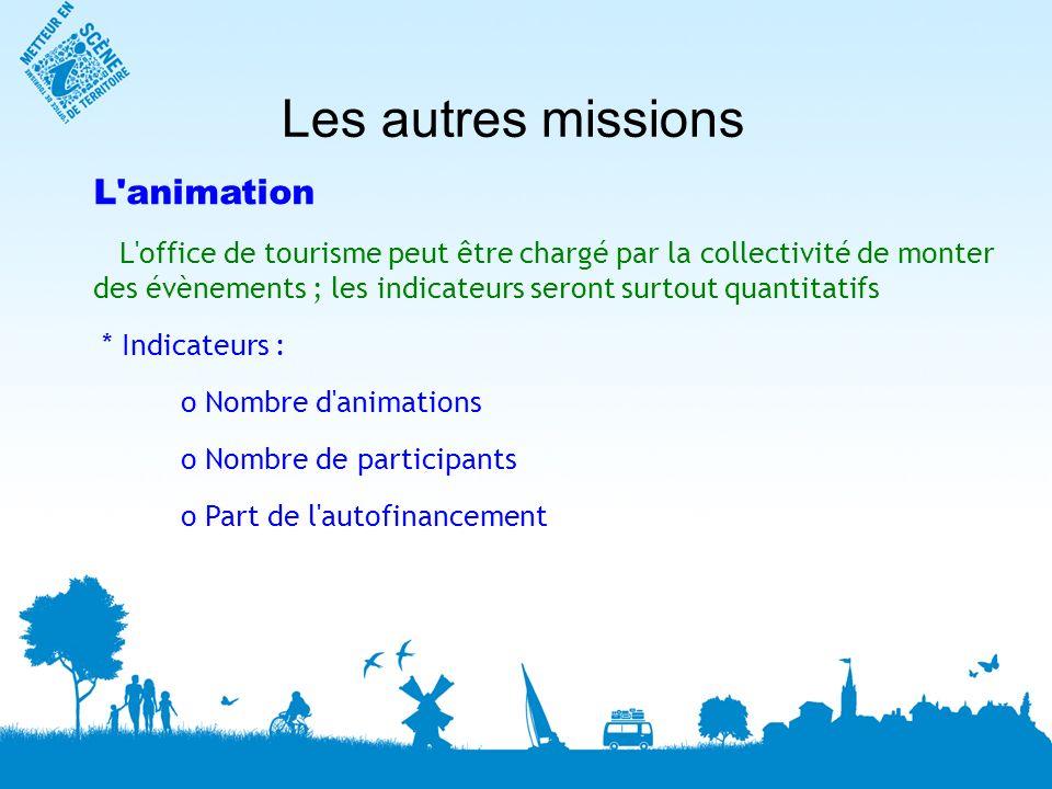 Les autres missions L'animation L'office de tourisme peut être chargé par la collectivité de monter des évènements ; les indicateurs seront surtout qu